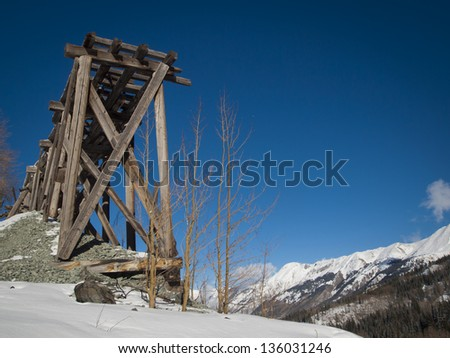 Red mountain and Yankee Girl Mine near Ouray, Colorado.