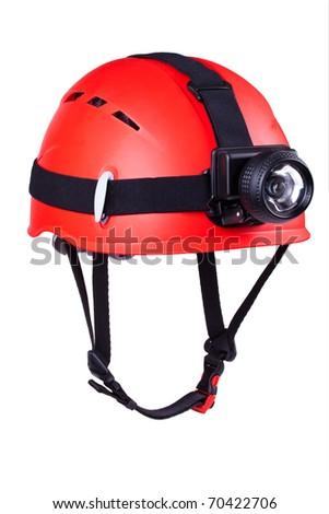 red mountain helmet with headlamp