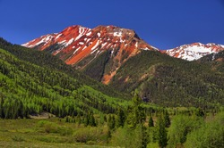 Red Mountains and Scenery along U.S. Highway between Ouray and Durango, Colorado