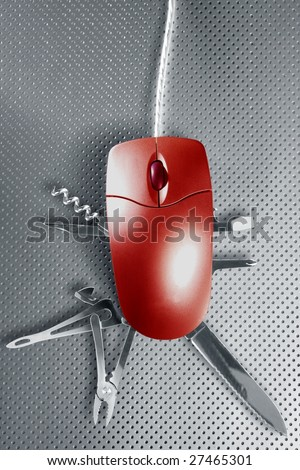 Red mouse metaphor pretending to be a swiss multifunction knife [Photo Illustration]