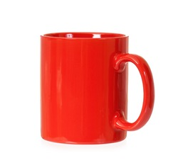 Red mug for coffee or tea, isolated on white background