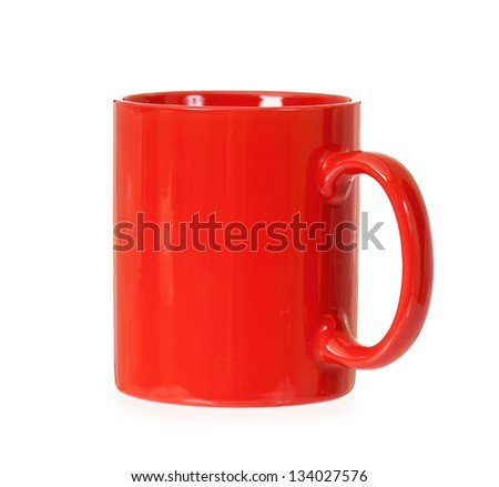 Red mug for coffee or tea, isolated on white background - stock photo