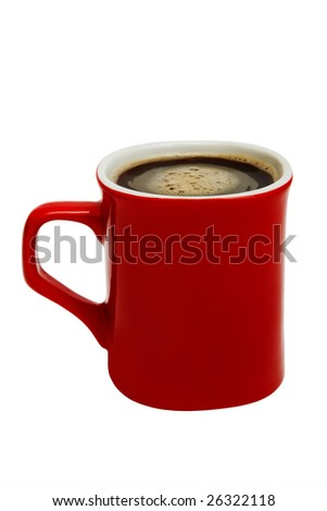 red mug from coffee on a white background - stock photo