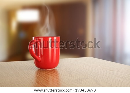 red mug in room