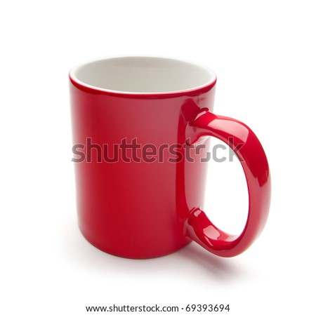 red mug on a white background