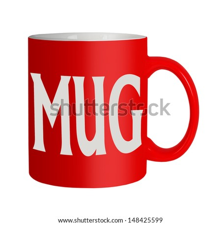 Red mug, white background