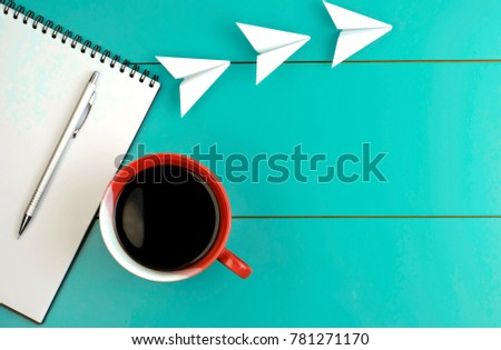 red mug with black coffee  open ...