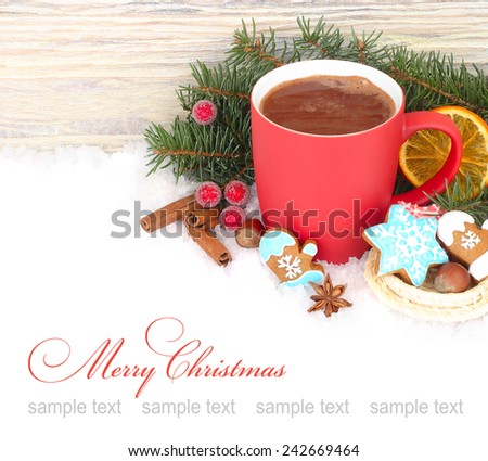 Red mug with hot chocolate and ginger cookies on a white background.