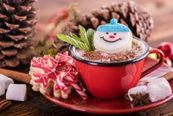 red mug with hot cocoa chocolate christmas background