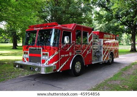 Red Municipal Fire Engine
