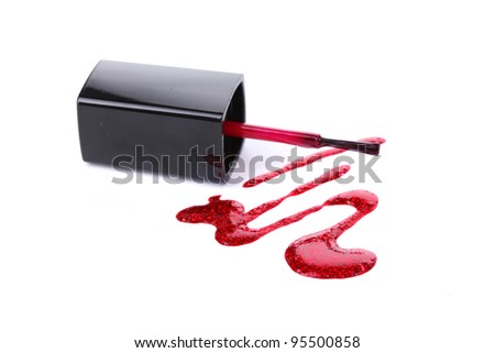 red nail polish and brush isolated on white - stock photo