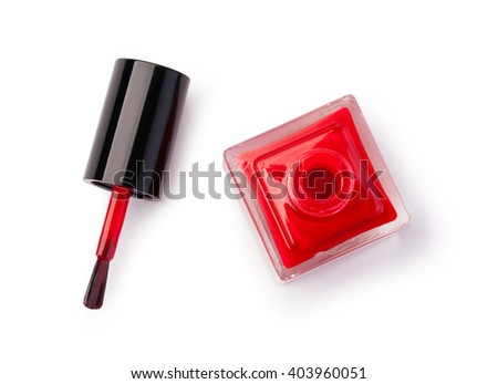red nail polish bottle on white background #403960051