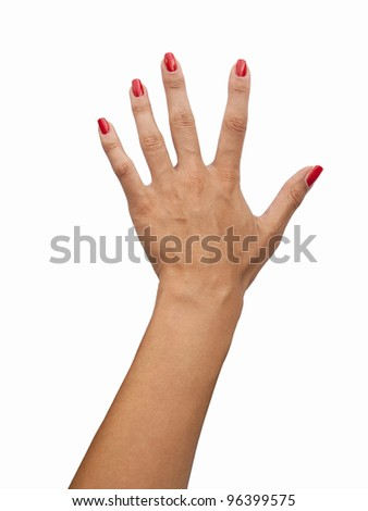 Red nail polish on female fingers