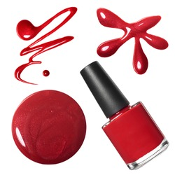 Red nail polish set isolated on white