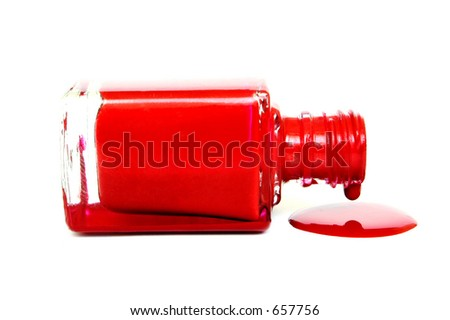 Red Nail varnish dripping out of its container