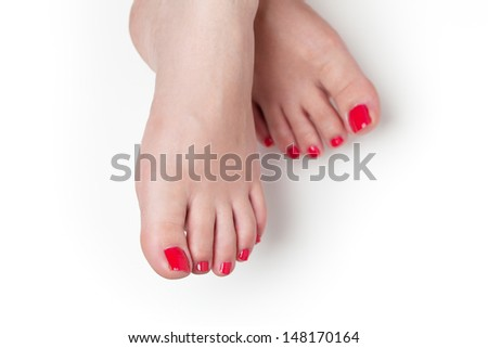 red nails after pedicure