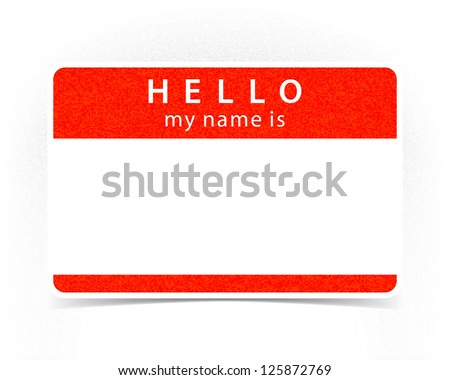 Red name tag empty sticker HELLO my name is with drop gray shadow on white background. This image is a bitmap copy my vector illustration
