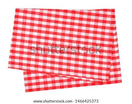 Red napkin isolated on white background