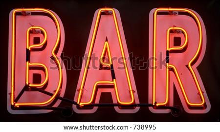 Red neon bar sign, manhattan, new york, new york state, america, usa