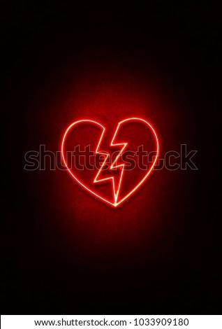 Red Neon Broken Heart sign