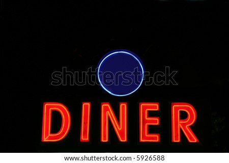 Red neon diner sign at night (add your own diner name at the top)