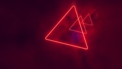 Red neon triangles in clouds.