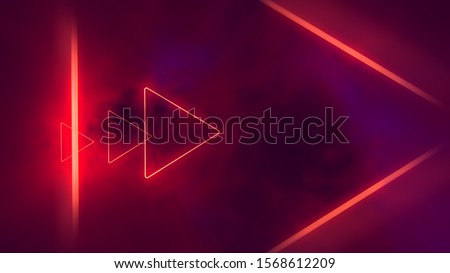 Photo of  Red neon triangles in clouds.