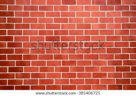 Red new brick wall pattern background for architecture design, front or top view.