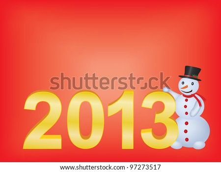 red new year 2013 background with snowman