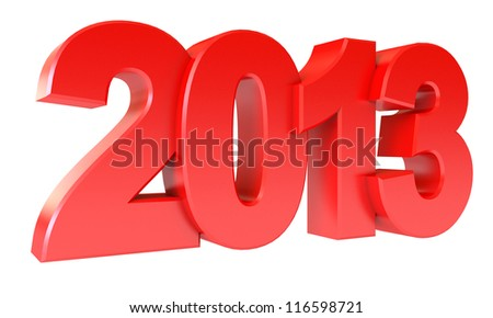 Red new year 2013. Isolated on white background. 3d render