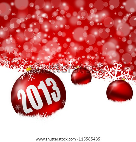 red new years background with snowflakes and christmas balls
