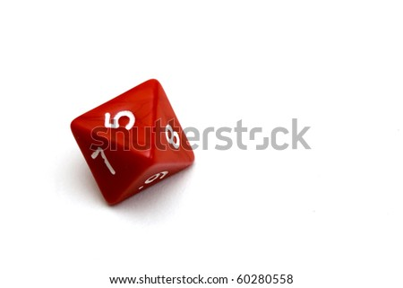 Red nine faces dice over white background