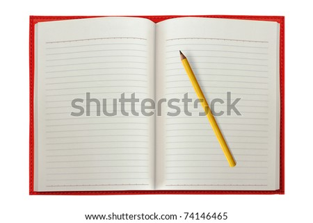 Red Notebook with a Pencil