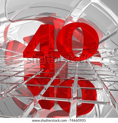 red number forty on chrome tiles - 3d illustration