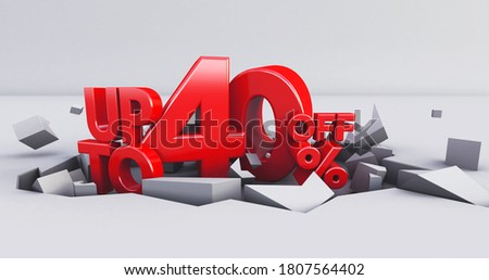 red 40% Number isolated on white background .40 forty percent sale. Black friday idea. up to 40%. 3D render