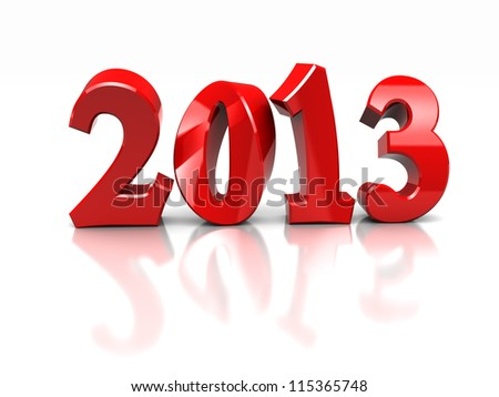 Red  number of new year -2013 isolated on white background - stock photo