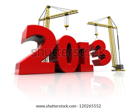 Red number of new year with two cranes - stock photo