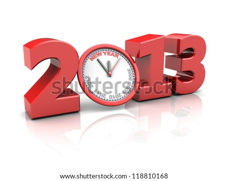 Red number 2013 with clock, new year concept - stock photo