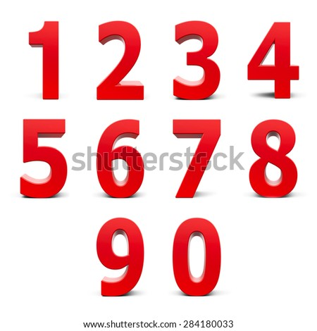 Red numbers set from 0 to 9 isolated on white background, three-dimensional rendering #284180033