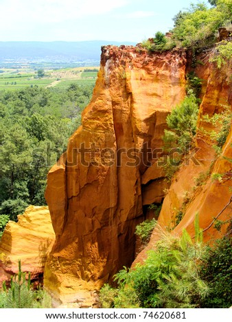 Red ochre cliffs at Roussillon, Provence, France