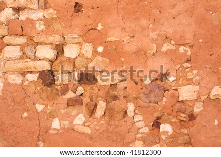 Red Ochre Stone Wall Background