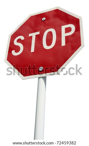 Red octagonal stop sign with white letters on white pole with cloud reflection