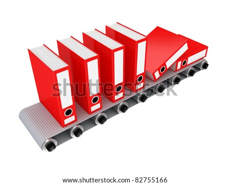 Red office folder on conveyor. 3D rendered. Isolated on white background.