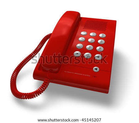 Red office phone - stock photo