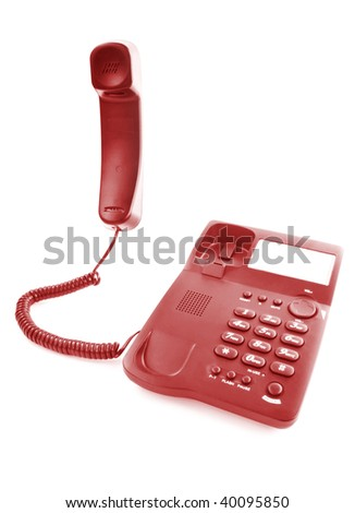 red office phone with the driving handset
