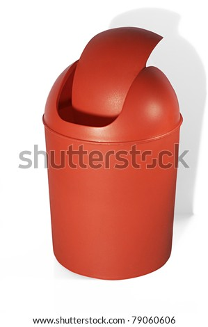 Red office trashcan