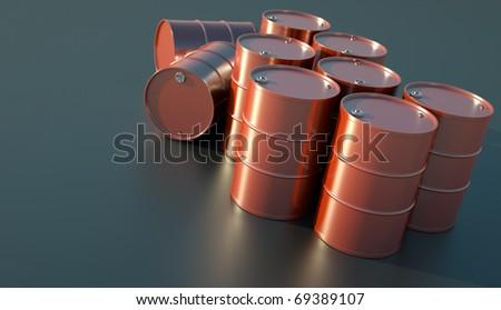 Red oil barrels glistening in the sunlight. 3D render. - stock photo
