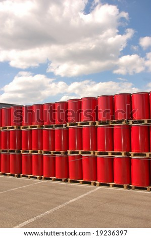 Red oil drums on a storage site