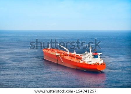Red oil tanker.