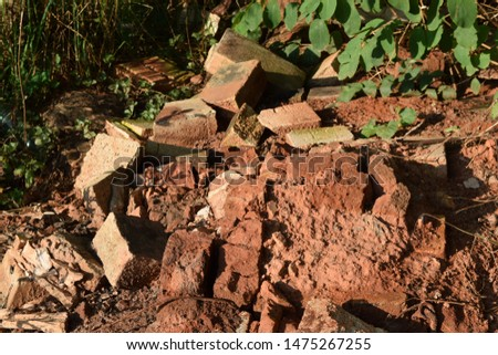 Red Old Bricks Piling Up